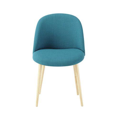 Chaise vintage en tissu et bouleau massif bleu pétrole