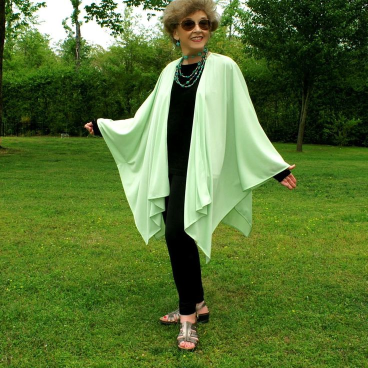 Pistachio Green Summertime Ruana, Shawl, Caftan, Kimono, Beach Coverup or Wrap--Easy Care--Soft and Light--One Size Fits Most Gypsies by YoungbearDesigns on Etsy