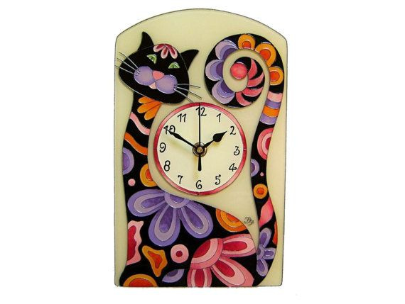 Cat Wall Clock, Silent, Animal, Black Cat Wall Clock, Colorful, Cat Home Decor, Kids Clock, Nurcery Decor, Funny Home Decor