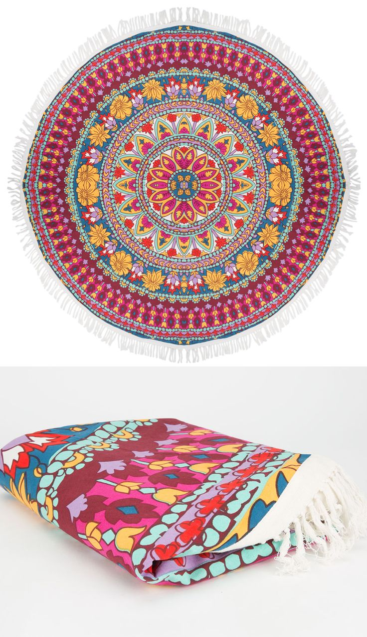 Why be a square when you can be round. Allover boho floral print with  contrast fringe trim. Make from old tapestry and white fringe from old  white blanket!