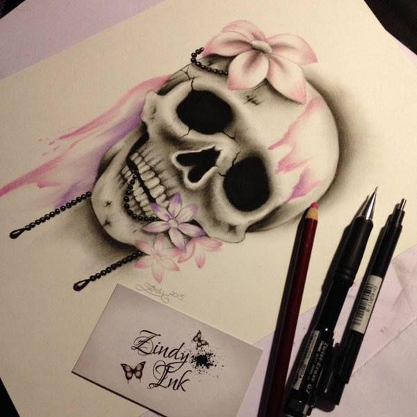Sweet Decay Skull Tattoo Design von Zindy S. D. Nielsen