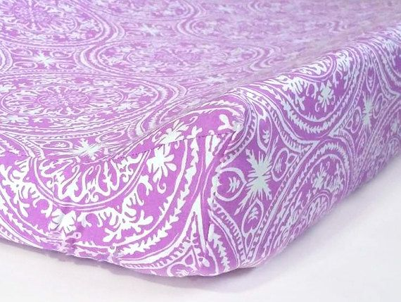 Purple & White Premier Prints/Changing Pad Cover