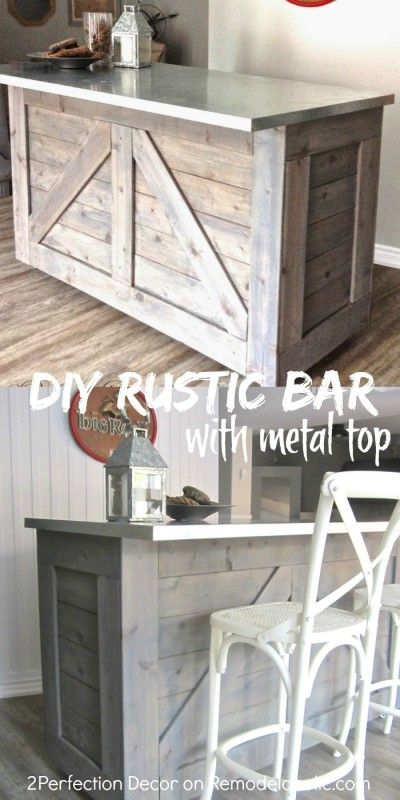 DIY rustic bar, made from an existing cabinet, with a galvanized metal countertop