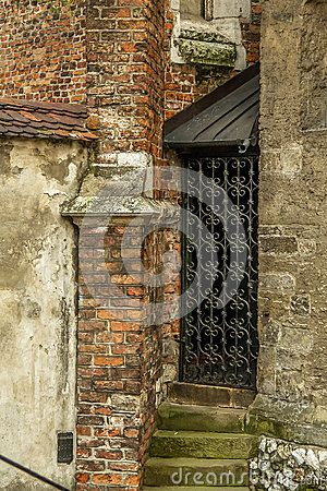 Ornate metal door. Old Town in Cracow. Poland