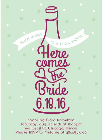 Festive Wine Theme Bridal Shower Invitations by Wine Country Occasions
