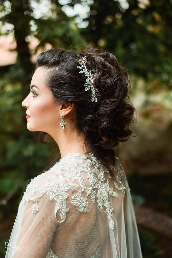 Bridal Hairpiece Hair Accessory Comb Crystals - silver plated hairstyle for bride - Etsy shop european style