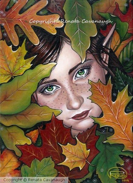 In the leaves by Renata Cavanaugh on ARTwanted