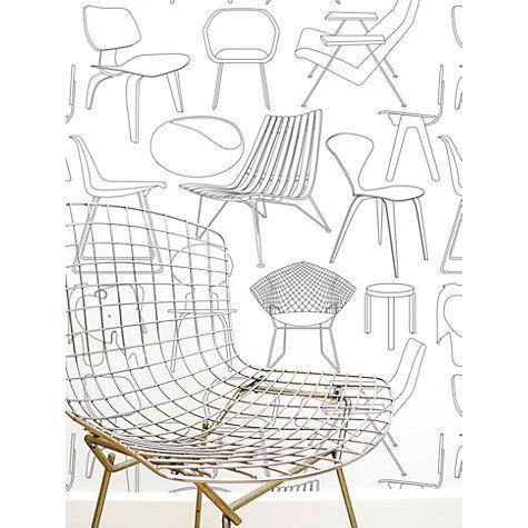 "Buy Mini Moderns ""Sitting Comfortably?"" Wallpaper, Snow Online at johnlewis.com"