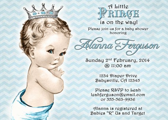chevron prince baby shower invitation for boy blue and gray prince vintage diy printable