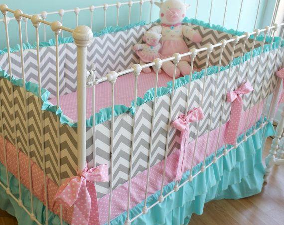 Aqua, Pink & Grey Chevron Crib Set Inspiration Plain Pink