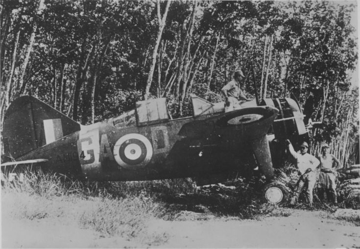 "Australian fighter US-made Brewster ""Buffalo» Mk.I (Brewster Buffalo Mk I) board code GA-D, No. AN194, captured by Japanese forces at the ai..."