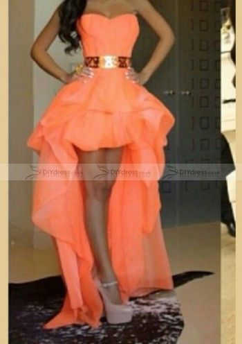 cheap a line sweetheart bubble short front long back prom