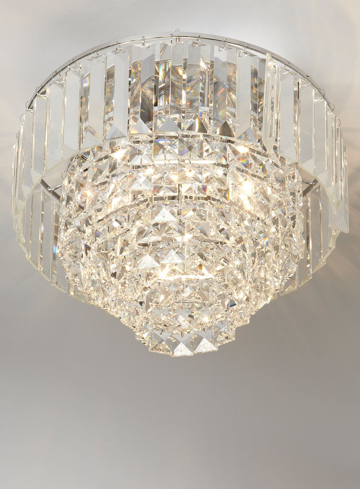Sienna Ceiling Light Bhs : Chrome paladina crystal flush ceiling lights lighting