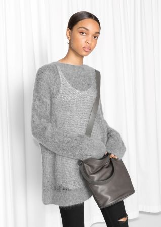& Other Stories image 1 of Fuzzy Mohair Blend Knit  in Grey