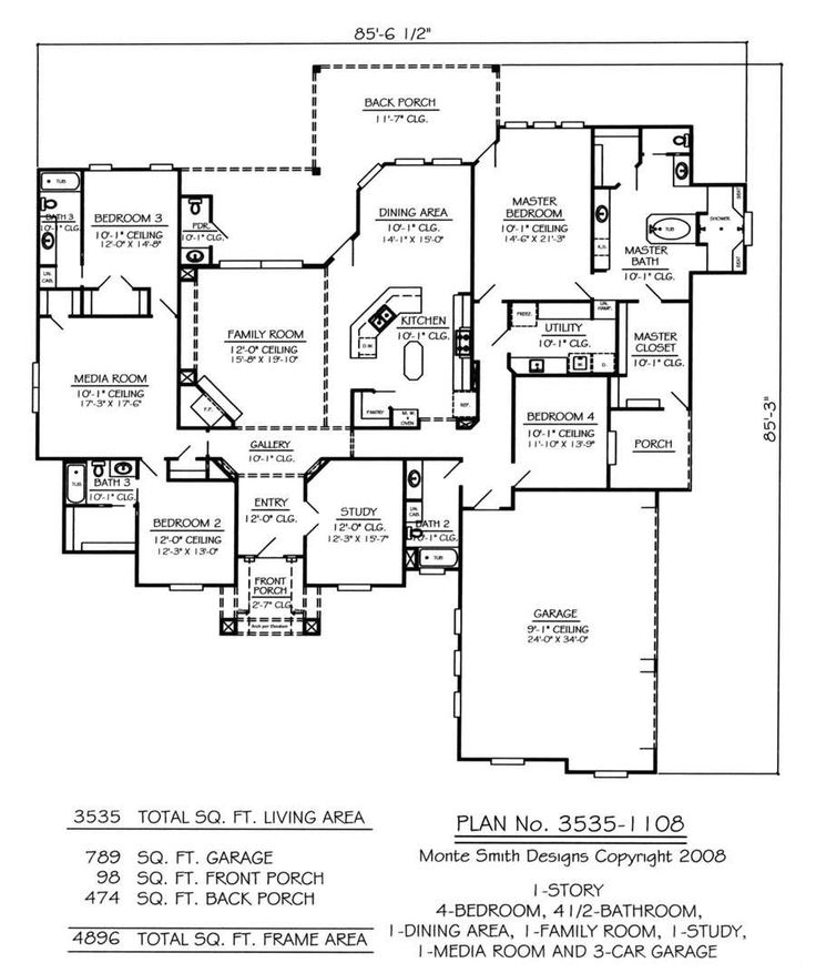 Great Image Result For Floor Plan, 3 Bedroom, 1 Study, With Media Room