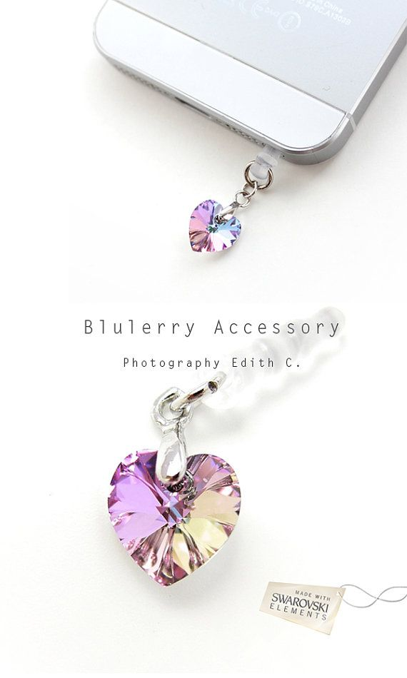 Aurora Purple Dangle Heart Swarovski Element Cyrstal Anti Dust Plug Cover Stopper for iPhone Samsung HTC Smartphone Accessory on Etsy, $15.99