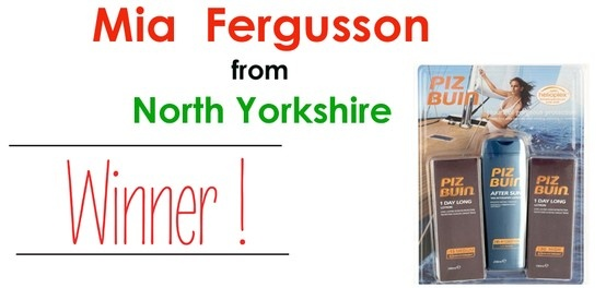 Mia Fergusson from North Yorkshire is the Lucky Winner of Piz Buin Triple Pack.
