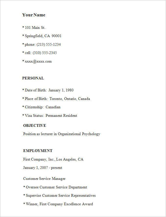 Resume Examples Simple Examples Resume Resumeexamples Simple