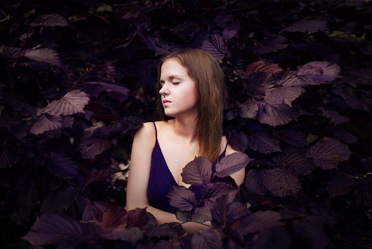 Deep Purple II by Agata Kluba on 500px Portrait of woman, leaves, beauty, dark, photoshoot, outdoor, posing