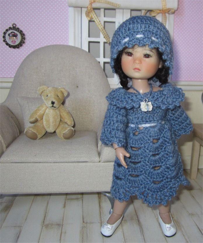 """117- FICHE PATRON CROCHET Ensemble """"Ondine"""" pour poupée Ten Ping ou Heartstring Doll : Jeux, jouets par atelier-crochet"""