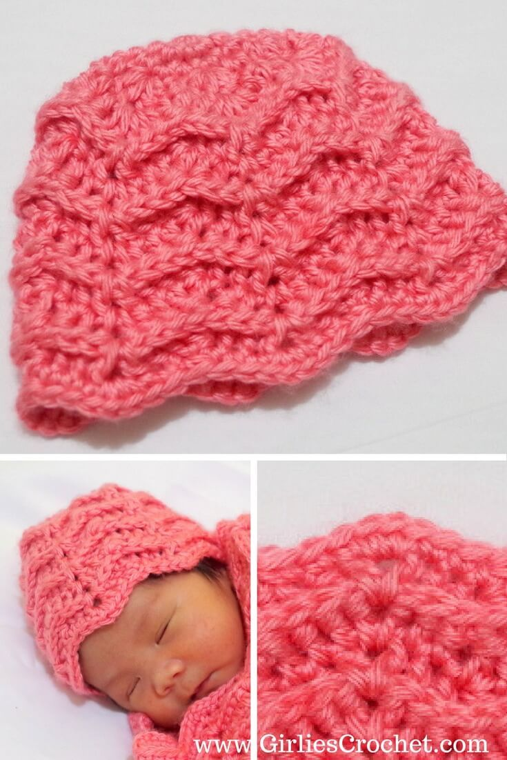 This is a free crochet pattern for Ylah Baby Beanie with photo tutorial in each step in chevron design.