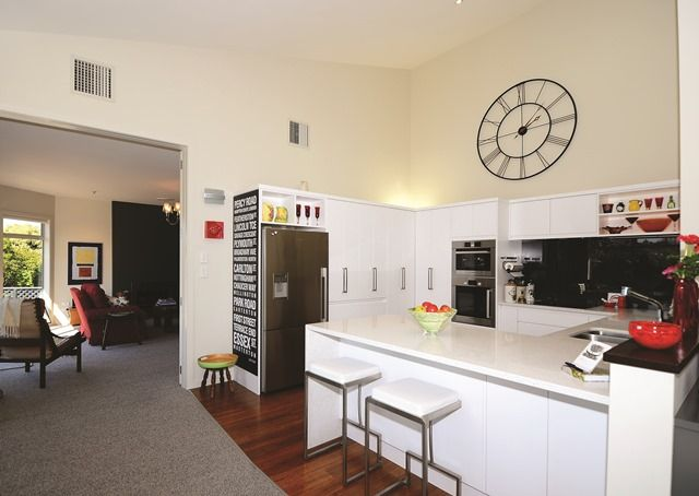 The owners are enjoying open-plan design for the first time after moving from a renovated 1930s bungalow. The entertainer's kitchen is a favourite spot.
