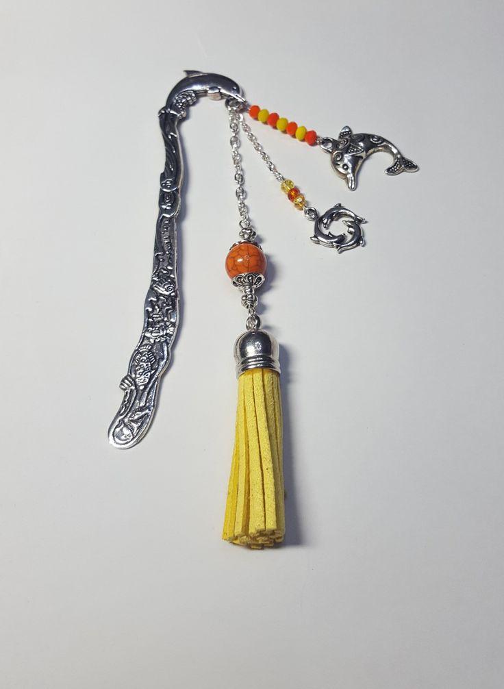 Grand marque pages dauphin pompon jaune : Marque-pages par ma-passion-des-bijoux