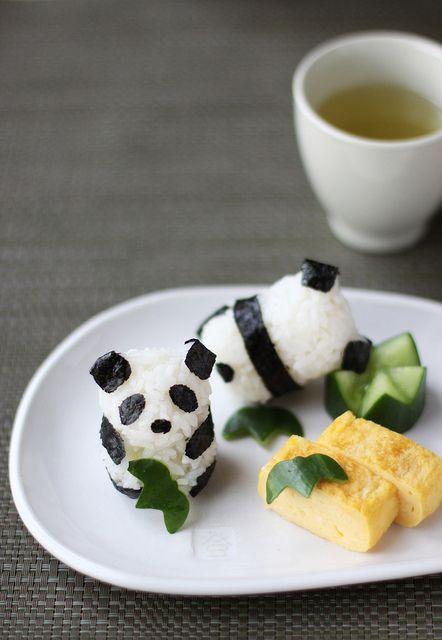 Panda onigiri (Japanese rice balls)