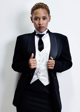 Womens Black Tuxedo. Lord West Ladies Tuxedos, Pictured is just one option available in a ladies black rental tuxedo. Choices include shawl collar jacket (as shown), notch lapel jacket, peak lapel jacket or tailcoat. There is also a choice of long skirt (as shown), short skirt, ladies pants or shorts. #tuxedo, #lady, #women, #wedding