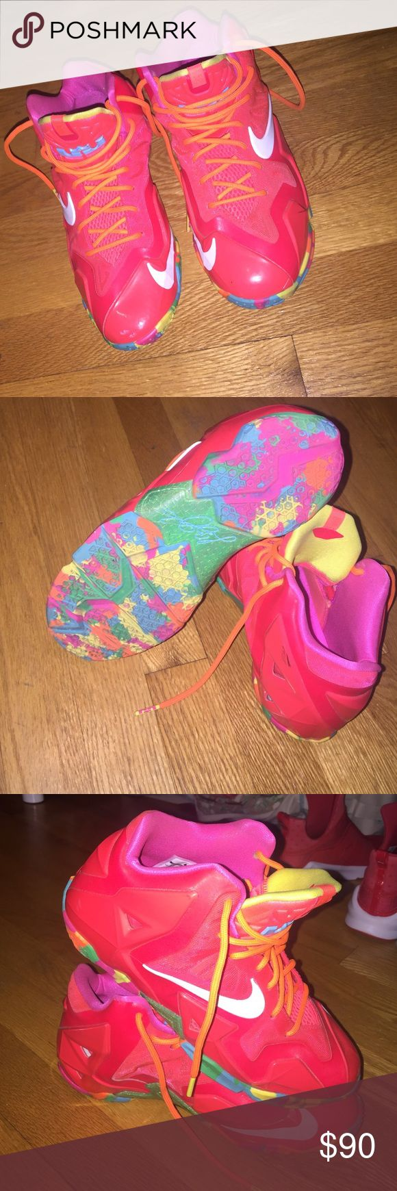 "Lebron James ""Fruity Pebbles"" Size 6Y. Good condition. Fits a women's foot size 8. Nike Shoes Sneakers"