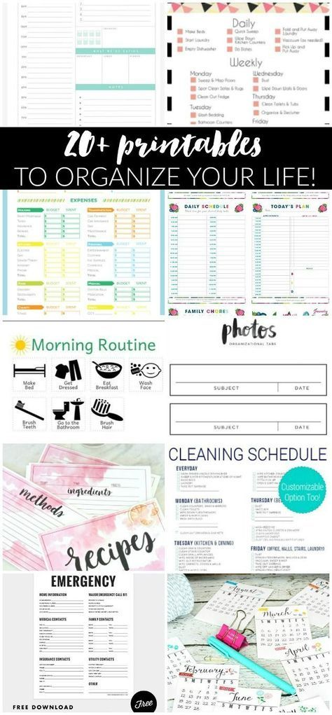 20+ FREE printables to help organize your life! Everything from budget worksheets to cleaning schedules and recipes binders. You'll find everything you need to get and stay organized! #PRINTABLES #ORGANIZING