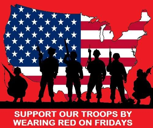 Wear red on friday R.=Remember E.=EveryoneD.=Deployed