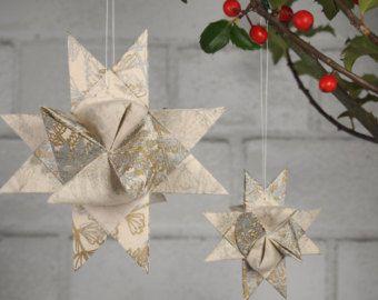 "Christmas Tree Ornaments - Silver and Gold Fern Leaf ""Julestjerner"" Danish Christmas Stars"