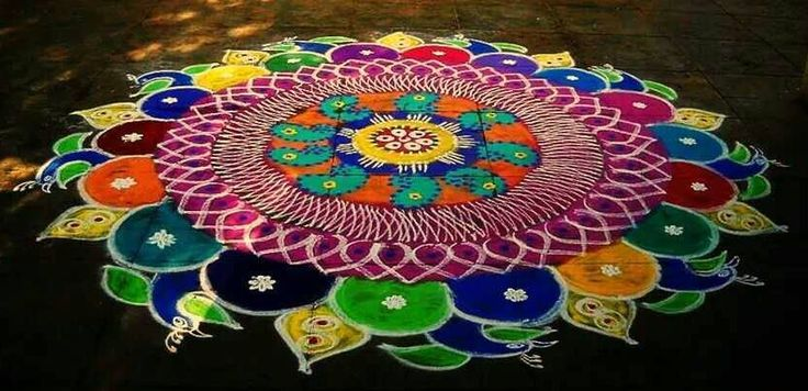 Kolam Peacock Rangoli Designs for Diwali
