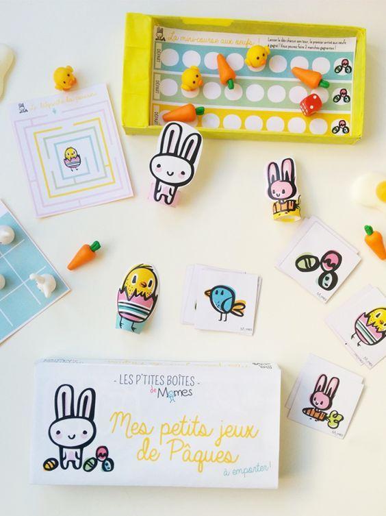 """Des jeux de Pâques à imprimer, jolis et gratuits, c'est idéal pour les petits ! Momes a créé pour vous une nouvelle """"P'tite Boîte"""" pour s'amuser à Pâques ! A partir d'une simple boîte de Kiri et de notre fichier à imprimer, créez une super boîte de jeux de Pâques ! Vos enfants pourront l'emporter partout pendant les vacances de Pâques. Ils découvriront à l'intérieur des petites activités à faire seul ou à plusieurs."""