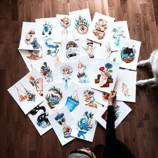Productive April. Olga Svart Illustration