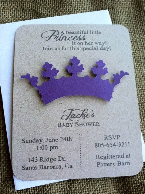 princess tiara crown invitation 3d baby shower birthday purple pink