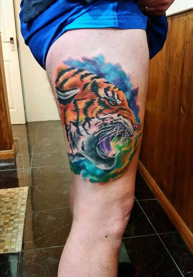 41 best colorful tiger tattoo images on pinterest tiger for Colorful thigh tattoos