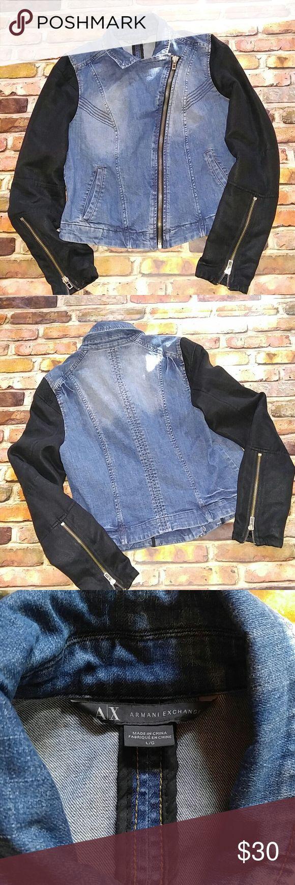 Armani Exchange denim Moto biker Jacket XL Very good condition.  Be sure to look at measurements carefully A/X Armani Exchange Jackets & Coats Jean Jackets