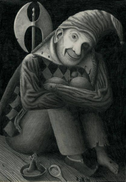 Original drawing  'Gonella I'  Homage to Jean Fouquets 'Gonella, the Ferrara court jester'  Pencil on paper, 1996  21,2 x 29,5 cm  1cm (Zentimeter) = 0,394 inch. Artist: Raimund J. Höltich