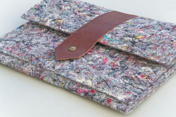 new MACBOOK 12 INDUSTRIAL FELT notebook case /// MacBook case /// recycled felt sleeve / felt & leather