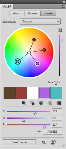 Adobe Kuler Photoshop panel - free color schemes