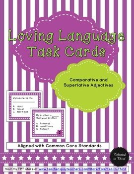 This is a great way to practice CCSS with your students!!! These task cards focus on adjectives with a fun theme in which students are asked to complete a sentence with the correct adjective to get the right answer. This is a fun way to get students to practice a skill that is more abstract. An answer key is also included with answers for all of the task cards. You can use these as assessments (a great formative or summative assessment, with the ability to differentiate)