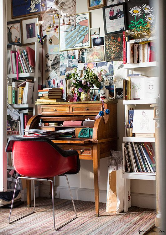 Ramdane and Victoire's Paris Apartment, Eiffel Tower, 7th arrondissement, desk, library, study / Garance Doré