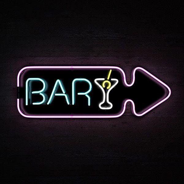 neon lights bar sign 3d