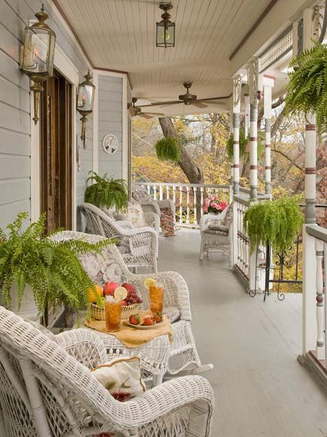 My dream house would definitely have a front porch with wicker rockers in which to sit and read, sip iced tea, chat with friends & family (with a water view of course for my husband)!