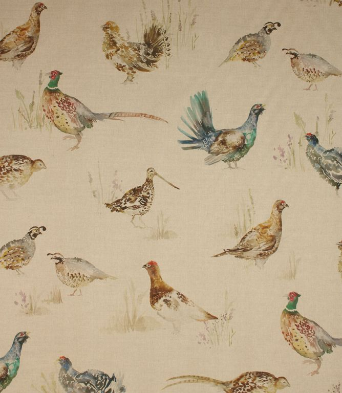 Lovely game birds fabric.This traditional fabric is made from cotton and linen. Ideal to create a country look in your home. Game birds is an ideal curtain material and would also look great made up into a roman blind or for cushions. Buy this fabric online or from one of our curtain fabric shops in Cheltenham and Burford. Coordinating Mrs Grouse and Capercaillie Couple cushions are available. Game birds PVC tablecloth is also available.