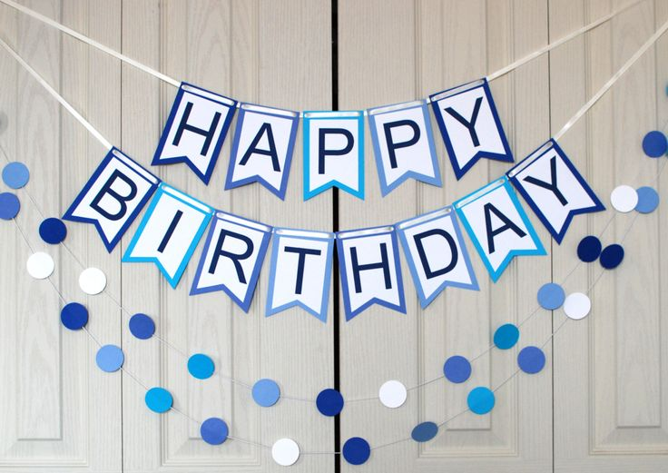 Happy Birthday Banner - Custom Birthday Banner - Personalized Birthday Banner- Birthday Sign - Blue Birthday Banner - Boy's Birthday Banner by ElenaLifeDesigns on Etsy