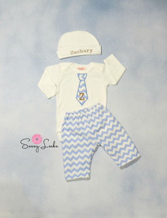 Newborn Baby Boy Clothes Monogram  Boy Tie Personalized Hat  and Pants Options Chevron Outfit Baby Boy Take Home Outfit Coming Home outfit by sassylocks