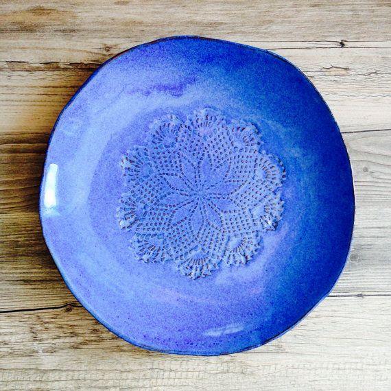 Keramik Teller blau Handarbeit Geschirr Set 4 von BlueDoorCeramics